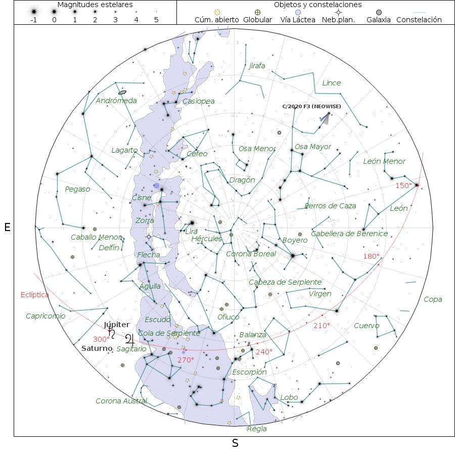Cuadro de texto:  Figura 2: Planisferio generado con http://www.oan.es/servidorEfem/index.php. Obsérvese el cometa entre Lince y la Osa Mayor, arriba a la derecha.